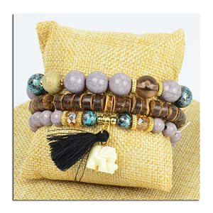 Bracelet CYBELE Manchette 3 rangs Collection Bead Charms et Bijoux sur fil élastic New Collection 75778