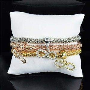 Set de 3 Bracelets Charms extensible 3 Coloris Silver-Gold-Rose Gold 75795