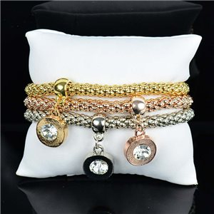 Set de 3 Bracelets Charms extensible 3 Coloris Silver-Gold-Rose Gold 75796