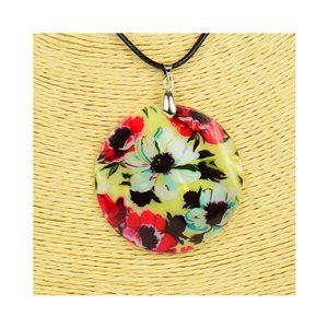 Pendant necklace 5 cm Natural Mother of Pearl Fashion Design L48cm New Collection 76207