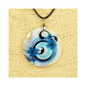Pendant necklace 5 cm Natural Mother of Pearl Fashion Design L48cm New Collection 76214