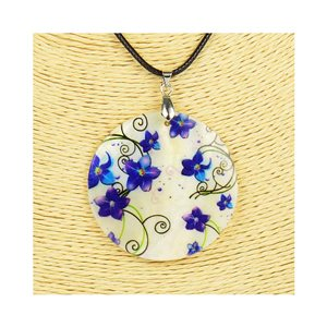 Pendant necklace 5 cm Natural Mother of Pearl Fashion Design L48cm New Collection 76216