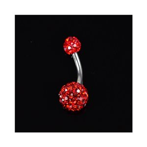 Piercing Banana navel Steel 316L L10mm D1.6 New Collection Rhinestone Red 68874