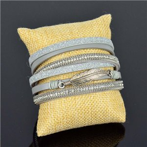 Cuff Bracelet Fashion Chic Leather Look and Rhinestone L38cm Magnetic clasp New Collection 76265