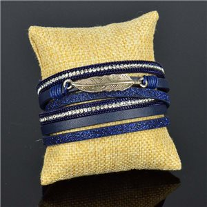 Cuff Bracelet Fashion Chic Leather Look and Rhinestone L38cm Magnetic Clasp New Collection 76268