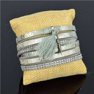 Cuff Bracelet Fashion Chic Leather Look and Rhinestone L38cm Magnetic clasp New Collection 76271