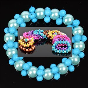 Lot of 12 Bracelets in 6 Colors Pearl and Jewelry on elastic wire 0.70 € each 76336