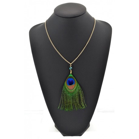 Peacock Feather Necklace pendant on a gold chain L60 cm 62310