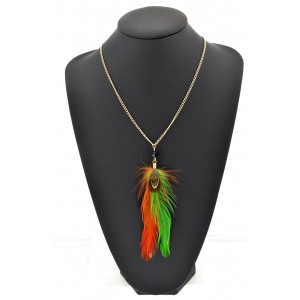 Feather Necklace pendant on a gold chain L60 cm 62314