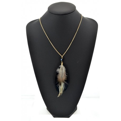 Feather Necklace pendant on a gold chain L60 cm 62317