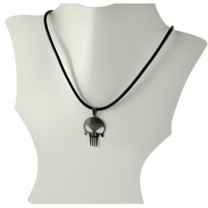 Necklace Pendant Brushed steel Shiny waxed cord on 66095