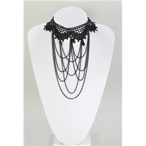 Ras necklace Neck Black Lace and Beads L32-40cm 67361