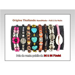 Set of 8 bracelets waxed cotton THAILAND Hand-made 68081