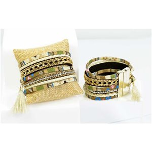 Rhinestone Bracelet cuff Effect Multi Row magnetic clasp New Collection 68302