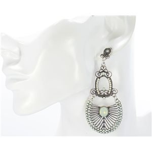 1p Boucles Oreilles CYBELE Full Strass Silver Collection Vintage 68738