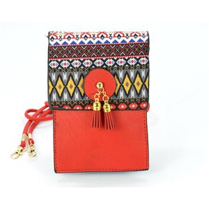 Back pocket Female + Touch Smartphone XL leather look and Pompon 12 * 18cm Ethnic Fabrics Collection 68772