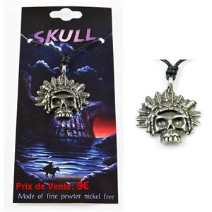 pewter pendant cord Skull Collection 68112