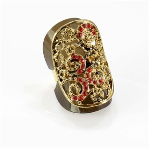 Adjustable Rhinestone Ring Full Rhinestone GOLD Vintage Collection 67757