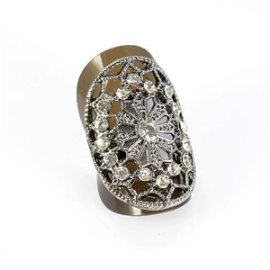 Bague Strass réglable Full Strass SILVER Vintage Collection 67855