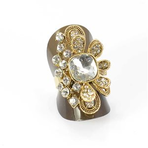 Adjustable Rhinestone Ring Full Rhinestone GOLD Vintage Collection 68008