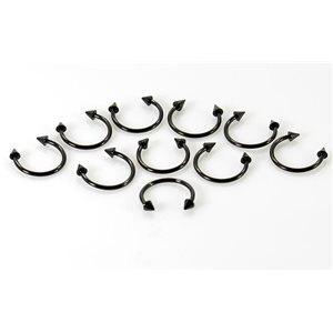 10 2 circular piercing spikes black d1.2mm l12mm surgical steel 68921