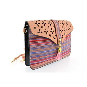 woman leather look pouch and l19-H13cm collection ethnic fabrics 70775