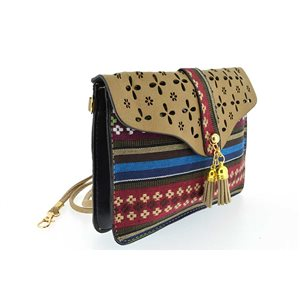 woman leather look pouch and l19-H13cm collection ethnic fabrics 70776