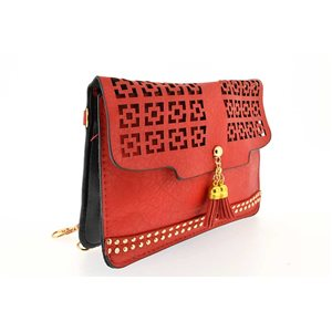 woman leather look pouch and l19 h14cm collection ethnic fabrics 70779