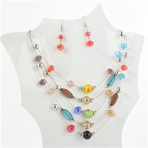 suspension necklace adornment 5 ranking Murano style faceted beads 71139