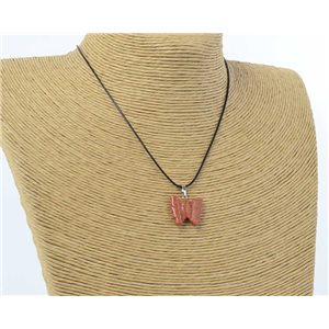 butterfly pendant necklace natural stone on waxed cord l49cm 71180