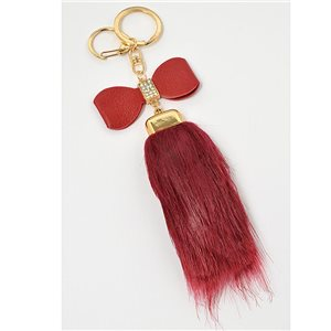 Gold metal door keys set with Rhinestones Bag Jewelry tassel fur 71306