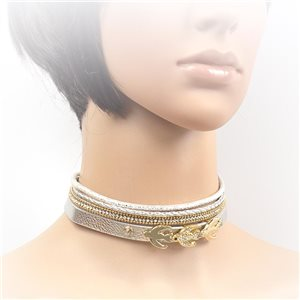 Necklace leather and rhinestone choker new collection 2017 2017 L32-40cm 71700