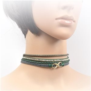 Necklace leather and rhinestone choker new collection 2017 2017 L32-40cm 71712