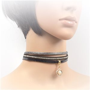 Necklace leather and rhinestone choker new collection 2017 2017 L32-40cm 71722