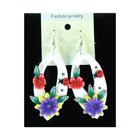 1p Earrings in polymer and Strass 45148