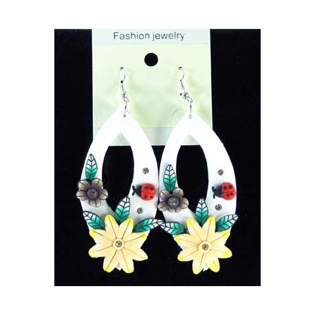 1p Earrings in polymer and Strass 45150