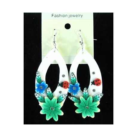 1p Earrings in polymer and Strass 45153