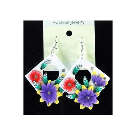 1p Earrings in polymer and Strass 45154