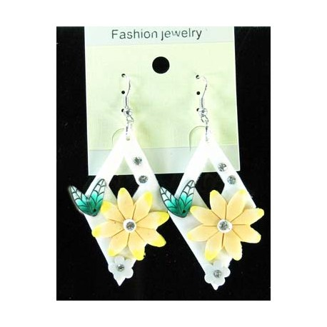 1p Earrings in polymer and Strass 45162