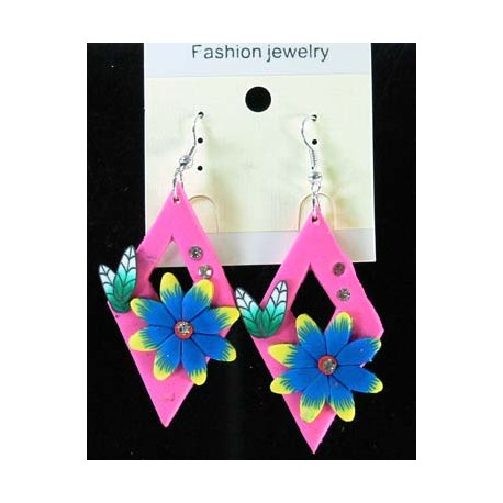 1p Earrings in polymer and Strass 45163