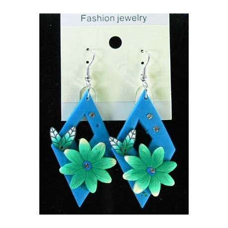 1p Earrings in polymer and Strass 45164