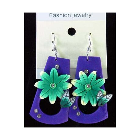 1p Earrings in polymer and Strass 45172