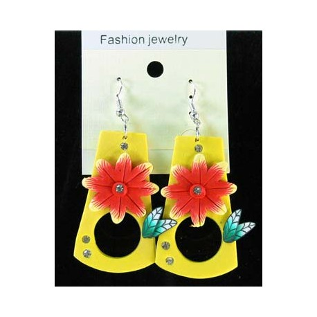 1p Earrings in polymer and Strass 45173