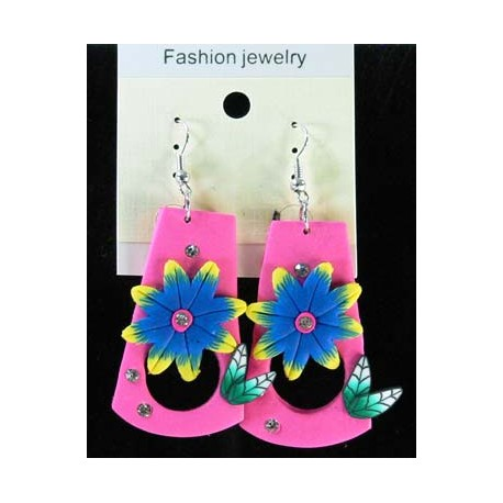1p Earrings in polymer and Strass 45175