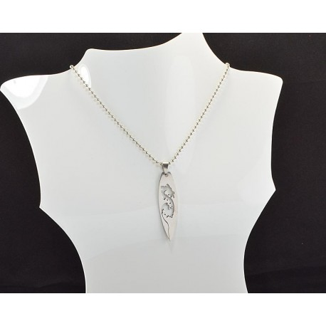 Necklace Pendant Brushed steel Shiny 61096