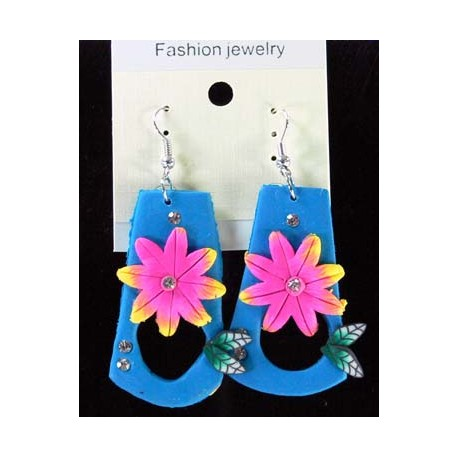 1p Earrings in polymer and Strass 45176