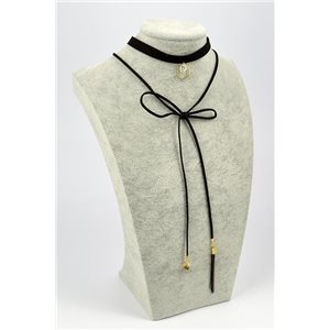 Necklace Velvet aspect Necklace L32,5 / 37cm + lace 1m 72357