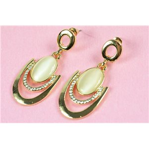 1p metal earrings gold color with nail imitation pearl on strass collection chic 73162