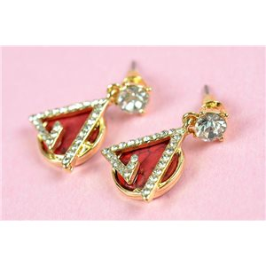 1p metal earrings gold color with studs full strass collection chic 73168