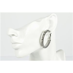 1p earrings creole 45mm metal color anthracite full strass fashion chic 73208